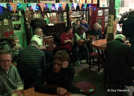 Fergus O'Flaherty and the band at his pub in Dingle