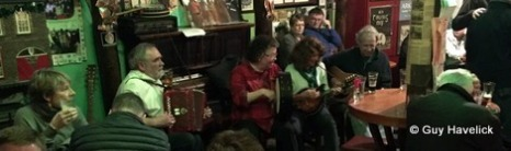 Fergus O'Flaherty and RavensFire at his pub in Dingle.
