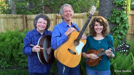 Judy (bodhran), Larry (guitar), Melissa (mandolin)