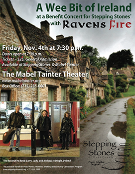 RavensFire at a benefit concert for the Stepping Stones food shelf in Menomonie, Wisconsin